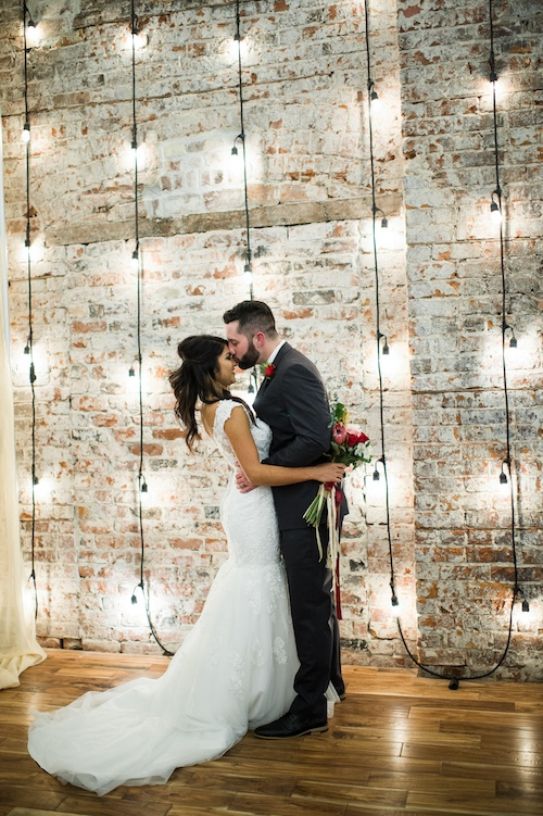 Wedding Photos Bride And Groom Brick Wall Hanging Lights