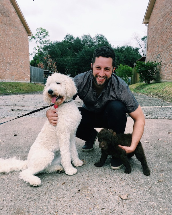 Pups With Their Human Dad