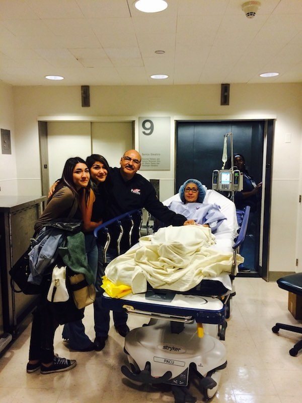 our family sending off my mom to the surgery room