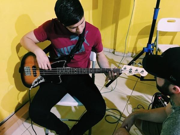Aaron teaching Brandon bass