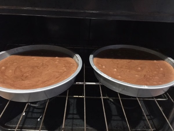 cake layers in oven
