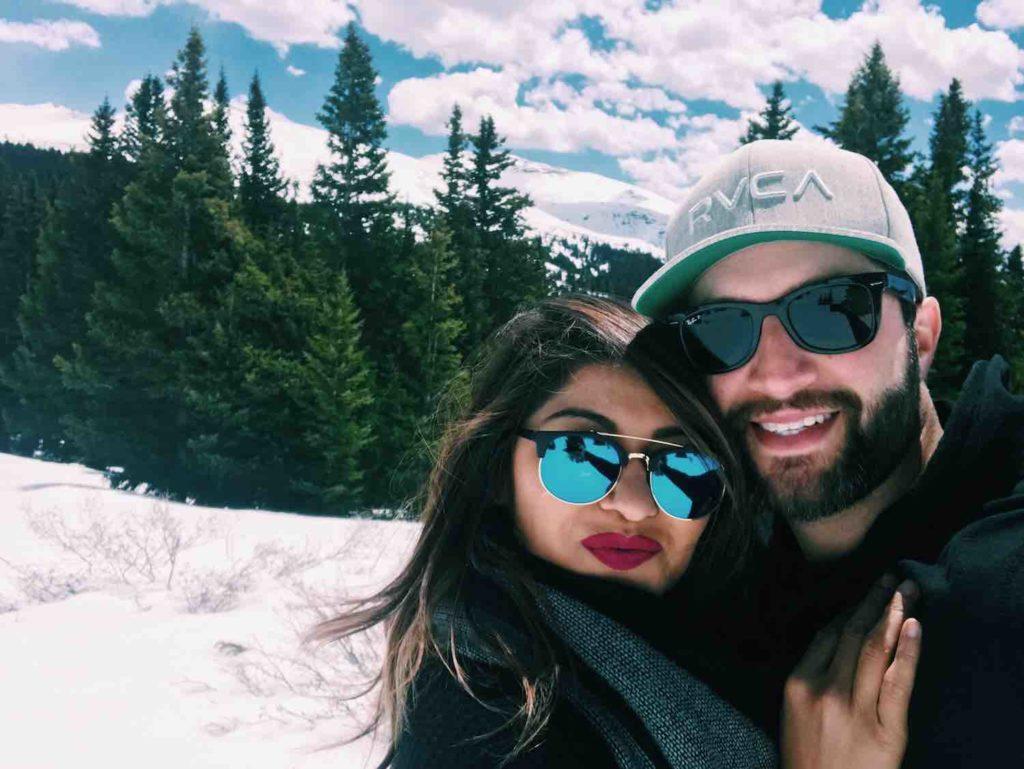 Couples Snowy Selfie