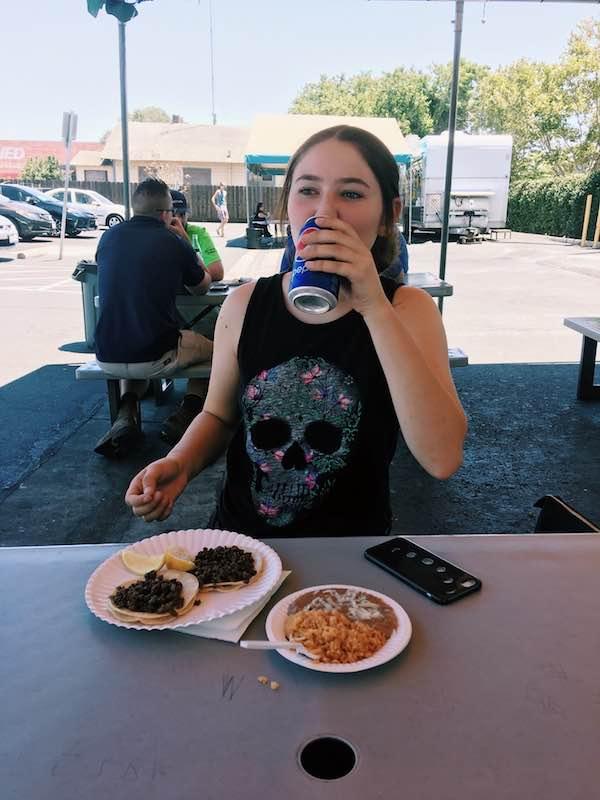 Kailee Ban enjoying her tacos