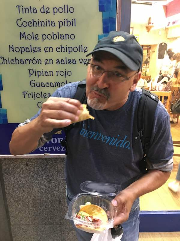 Papi eating tacos in Madrid
