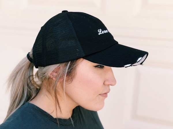 Love And Tacos Black Trucker Hat Side View