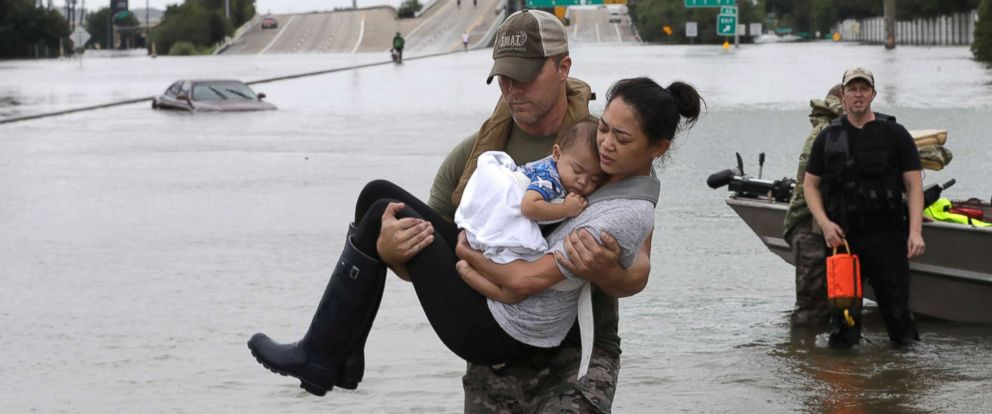 Hurricane Harvey Mom and baby rescue in Houston