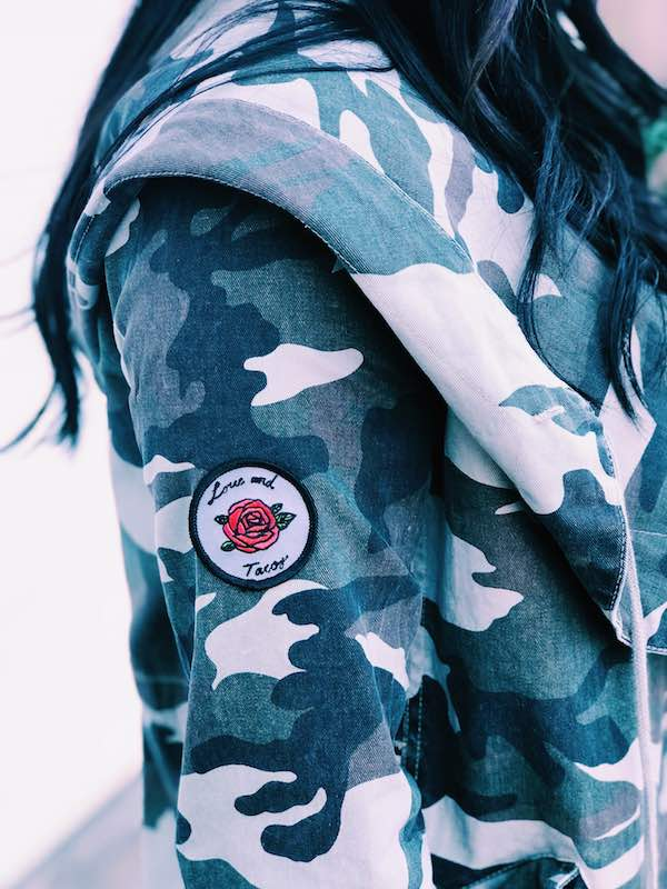 Love And Tacos Camo Jacket Close Up Patch View