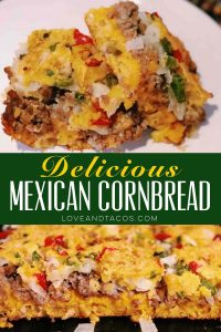 Mexican Cornbread is a full meal of its own! All the greatest things in one - meat, cornbread, cheese, yummy veggies, what more could you want?