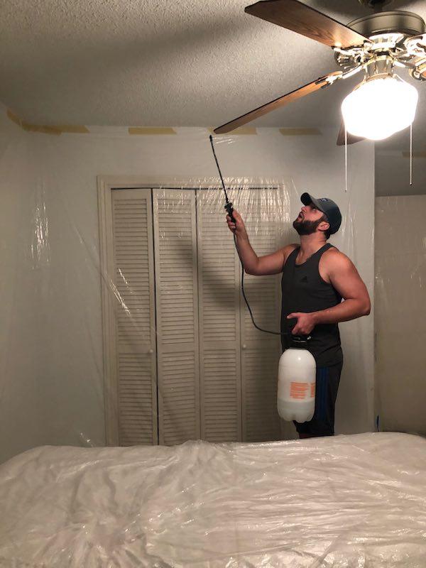 Spraying Down Popcorn Ceilings