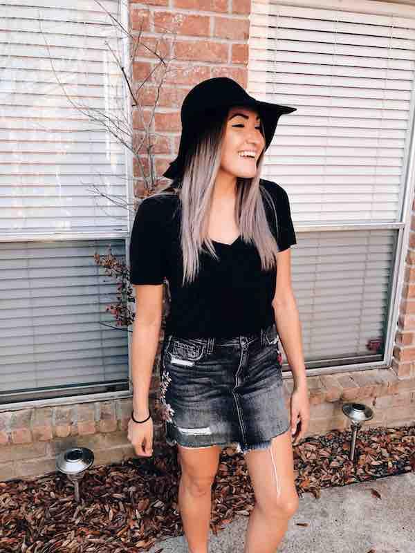 Jean Skirt Floppy Hat Spring