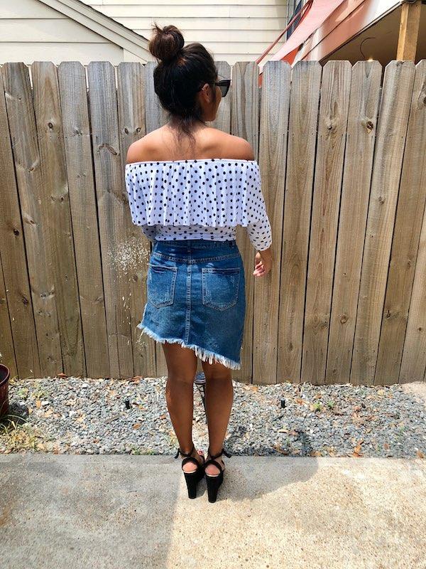 Asymmetrical Jean Skirt Summer Outfit