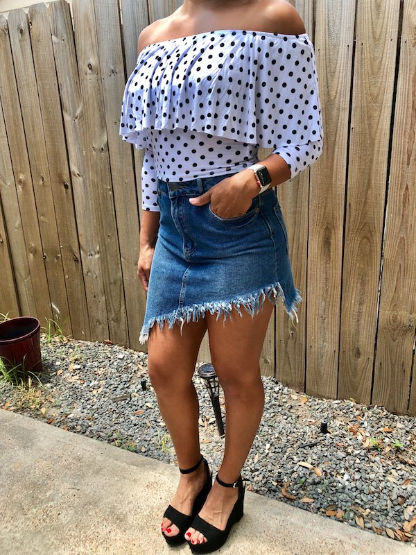 Black Wedge Heel With Summer Jean Skirt And Polka Dot Top