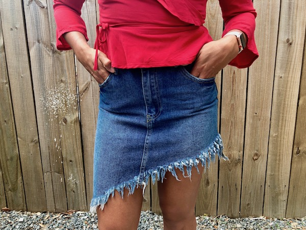 Summer Jean Skirt With Frayed Detailing