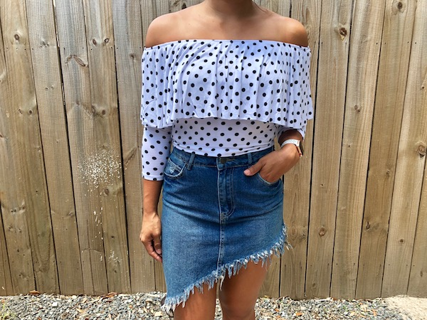 Summer Asymmetric Jean Skirt Outfit With Polka Dot Top - Summer Outfit