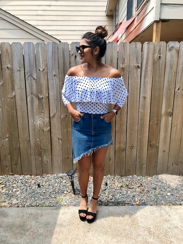 Summer Jean Skirt With Polka Dot Off The Shoulder Top