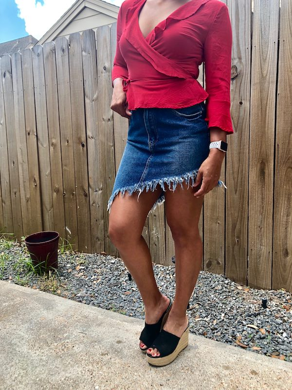 Summer Jean Skirt Styled With Red Top And Wedges