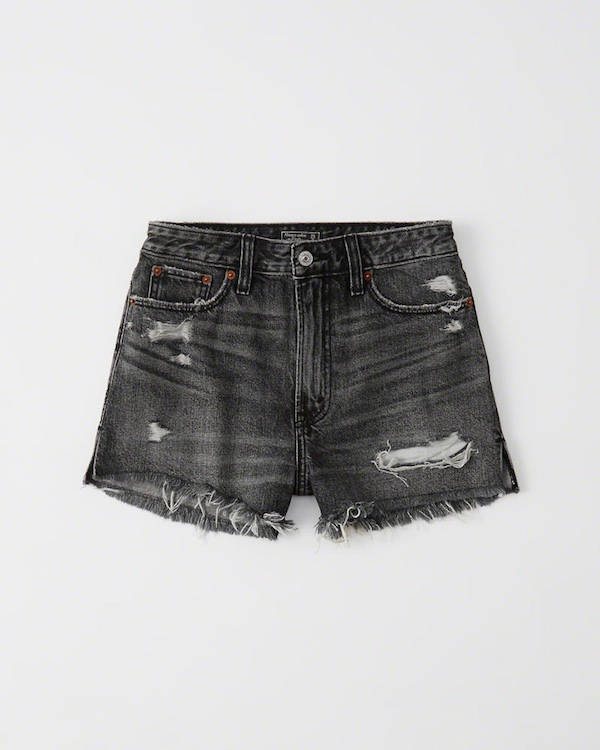 High Rise Black Wash Shorts